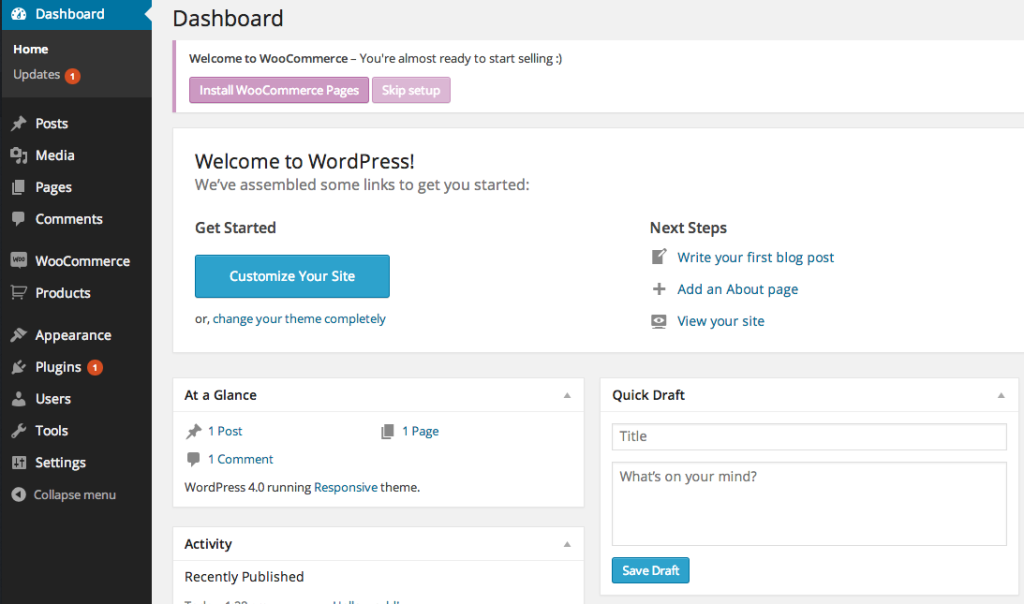 "The Dashboard now contains a ""Install WooCommerce Pages"" button."