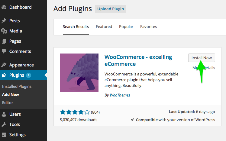 "Install WooCommerce by clicking the ""install"" button"