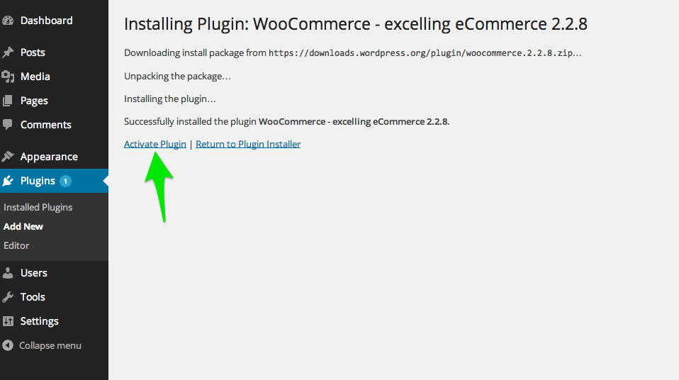 To activate WooCommerce, click on the Activate Plugin button.